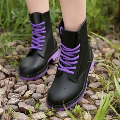 Women's PVC Low Heel Boots Mid-Calf Boots Rain Boots With Lace-up shoes