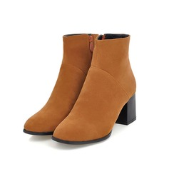 Women's Suede Chunky Heel Ankle Boots With Zipper shoes