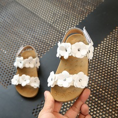 Girl's Peep Toe Leatherette Sandals Flats Flower Girl Shoes With Flower