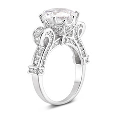 Sterling Silver Cubic Zirconia Halo Vintage Round Cut Engagement Rings Promise Rings - (289233157)