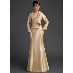 Trumpet/Mermaid V-neck Floor-Length Taffeta Mother of the Bride Dress With Ruffle Flower(s)