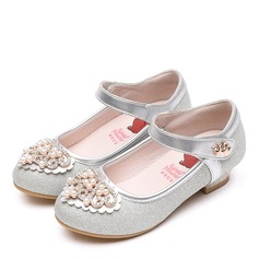 Girl's Round Toe Closed Toe Microfiber Leather Flat Heel Flats Flower Girl Shoes With Velcro Crystal Pearl