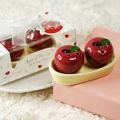"""Apple Of My Eye"" Ceramic Salt & Pepper Shakers With Ribbons/Tag"