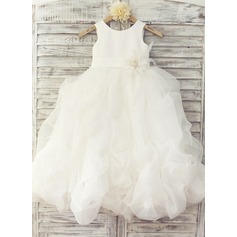 A-Line/Princess Floor-length Flower Girl Dress - Organza Sleeveless Scoop Neck With Flower(s)/Bow(s)