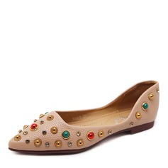 Women's Leatherette Flat Heel Flats Closed Toe With Rhinestone shoes