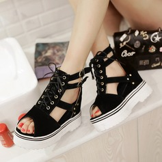 Women's Chunky Heel Sandals Platform Wedges Peep Toe With Buckle Lace-up Hollow-out shoes