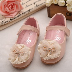 Round Toe Closed Toe Leatherette Flat Heel Flats Flower Girl Shoes With Bowknot Flower