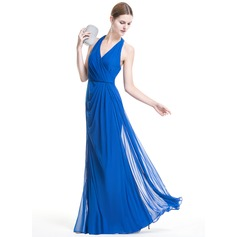 A-Line/Princess Halter Floor-Length Jersey Evening Dress With Ruffle