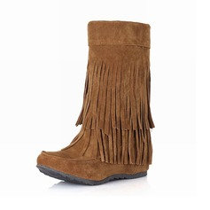 Women's Suede Low Heel Mid-Calf Boots With Tassel shoes (088097390)