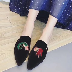 Women's Fabric Flat Heel Flats Closed Toe Slingbacks With Others shoes