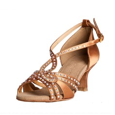 Women's Satin Heels Sandals Latin With Rhinestone Dance Shoes
