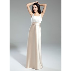 A-Line/Princess Scoop Neck Floor-Length Satin Bridesmaid Dress With Ruffle Bow(s)