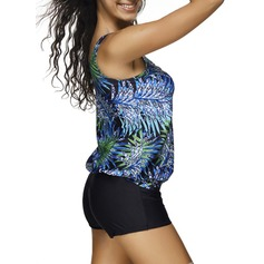 Elegant Floral Polyester Tankinis Swimsuit (202168790)