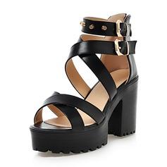 Frauen Kunstleder Stämmiger Absatz Sandalen Absatzschuhe Plateauschuh mit Niete Schuhe