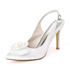 Women's Satin Stiletto Heel Slingbacks With Satin Flower
