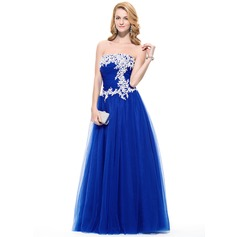 A-Line/Princess Strapless Floor-Length Tulle Prom Dress With Ruffle Beading Appliques Lace Sequins
