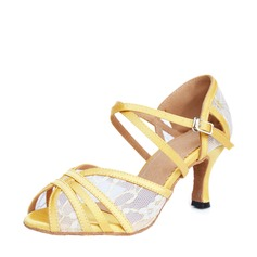 Satin Heels Sandals Latin With Buckle Hollow-out Dance Shoes