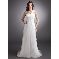 Empire One-Shoulder Court Train Organza Wedding Dress With Ruffle Beading