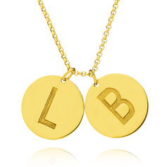 Custom 18k Gold Plated Silver Letter Coin Two Initial Necklace Circle Necklace - Birthday Gifts Mother's Day Gifts