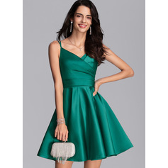 A-Line V-neck Short/Mini Satin Prom Dresses With Ruffle Pockets (272235507)