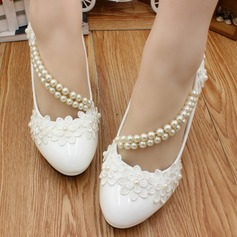 Women's Leatherette Stiletto Heel Closed Toe Flats With Imitation Pearl Applique