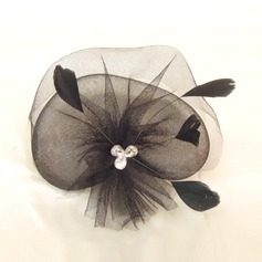 Elegant Netto garn/Fjäder Fascinators med Strass