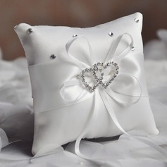 Elegant Ring Pillow in Satin/Polyester With Bow/Loving Hearts (103190780)