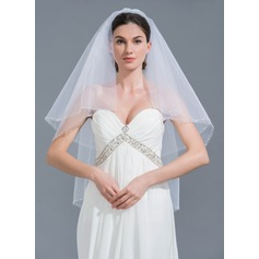 Two-tier Beaded Edge Fingertip Bridal Veils With Beading (006109859)