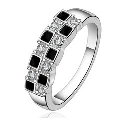 Gorgeous Silver Plated Zircon Brass Ladies' Fashion Rings