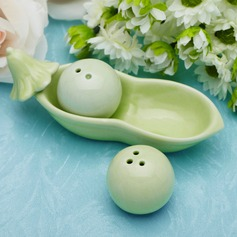 """Two Peas In A Pod"" Ceramic Salt & Pepper Shakers With Ribbons"