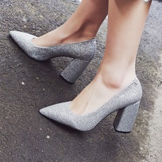 Women's Sparkling Glitter Chunky Heel Pumps With Sparkling Glitter shoes