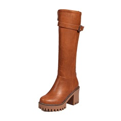 Women's Leatherette Stiletto Heel Pumps Closed Toe Boots Over The Knee Boots With Buckle Zipper shoes