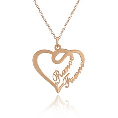 Custom 18k Rose Gold Plated Silver Heart Overlapping Two Name Necklace - Valentines Gifts