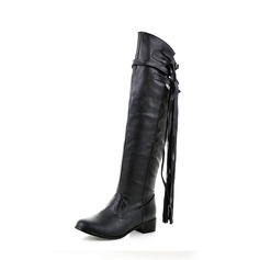 Women's PU Flat Heel Boots Knee High Boots With Tassel shoes
