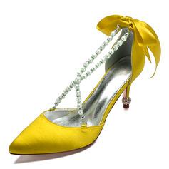 Dla kobiet Satyna Obcas Kaczuszka Zakryte Palce Plaskie Sandały Z Kryształ