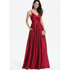 A-Line V-neck Floor-Length Satin Prom Dresses With Ruffle Pockets (018175919)
