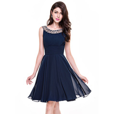 A-Line Scoop Neck Knee-Length Chiffon Cocktail Dress With Ruffle Beading