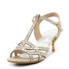 Women's Sparkling Glitter Stiletto Heel Sandals Pumps With Rhinestone Buckle shoes