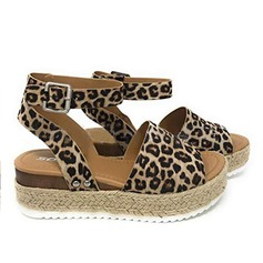 Women's PU Wedge Heel Sandals Wedges With Animal Print shoes (087200029)