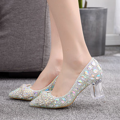 Kids' Leatherette Chunky Heel Closed Toe Pumps With Bowknot Sequin Crystal Heel