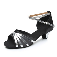 Women's Satin Leatherette Heels Sandals Latin With Ankle Strap Dance Shoes