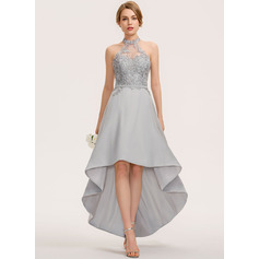 A-Line Halter Asymmetrical Chiffon Lace Homecoming Dress
