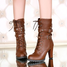 Women's Leatherette Chunky Heel Pumps Boots Mid-Calf Boots With Lace-up shoes (088139492)