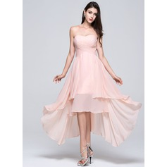 A-Line Sweetheart Chiffon High Low Ruffled Bridesmaid Dress