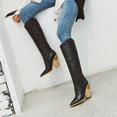 Women's Microfiber Leather Cone Heel Boots Knee High Boots With Zipper shoes (088221297)