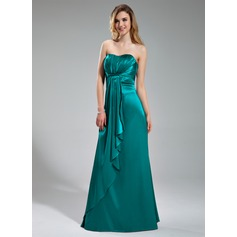 Empire Sweetheart Floor-Length Charmeuse Bridesmaid Dress With Cascading Ruffles