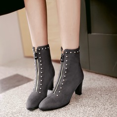 Women's Suede Chunky Heel Pumps Boots With Rivet Zipper shoes