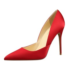 Women's Satin Stiletto Heel Pumps Closed Toe shoes (085114803)