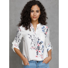3/4 Sleeves Cotton V Neck Blouses (1003223631)