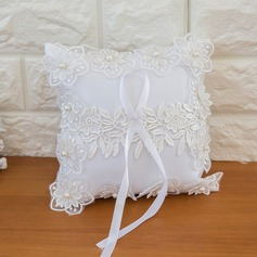 Simple Ring Pillow in Satin With Ribbons/Flowers/Lace